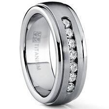 7MM Men's Dome Brushed Titanium Wedding Band Ring with 7 Round Cubic Zirconia,