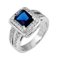 Blue Sapphire CZ Crystal Ring Lady's 10Kt White Gold Filled Wedding Band Sz 6-10