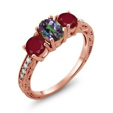 2.02 Ct Oval Green Mystic Topaz Red Ruby 18K Rose Gold Ring