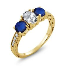 2.82 Ct Oval White Zirconia Blue Simulated Sapphire 18K Yellow Gold Ring