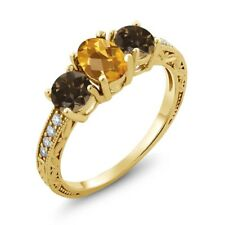 1.74 Ct Oval Checkerboard Yellow Citrine Brown Smoky Quartz 18K Yellow Gold Ring