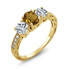 1.82 Ct Oval Whiskey Quartz White Topaz 14K Yellow Gold Ring