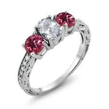 2.07 Ct Oval White Topaz Pink Tourmaline AAA 925 Sterling Silver Ring