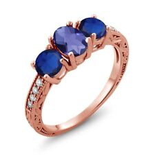 1.97 Ct Oval Checkerboard Blue Iolite Blue Simulated Sapphire 14K Rose Gold Ring