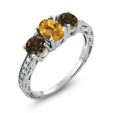 1.74 Ct Oval Checkerboard Yellow Citrine Brown Smoky Quartz 18K White Gold Ring
