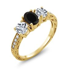 1.92 Ct Oval Black Onyx White Topaz 18K Yellow Gold Ring