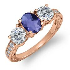1.77 Ct Oval Checkerboard Blue Iolite I/J Diamond 18K Rose Gold Ring