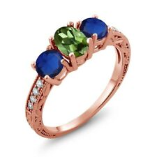 2.02 Ct Oval Green Tourmaline Blue Simulated Sapphire 18K Rose Gold Ring