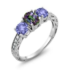 1.84 Ct Oval Green Mystic Topaz Blue Tanzanite 18K White Gold Ring