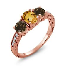 1.64 Ct Oval Yellow Citrine Brown Smoky Quartz 18K Rose Gold Plated Silver Ring