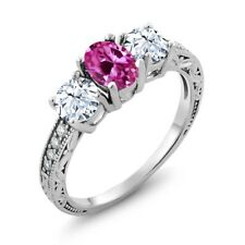 2.52 Ct Oval Pink Created Sapphire 18K White Gold Ring