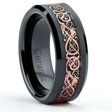8MM Black Ceramic Celtic Dragon Over Carbon Fiber Inlay Wedding Band Ring