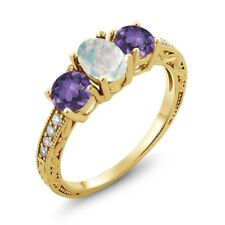 1.65 Ct Oval Cabochon White Simulated Opal Purple Amethyst 14K Yellow Gold Ring
