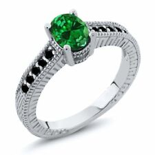 1.57 Ct Oval Green Simulated Emerald Black Diamond 925 Sterling Silver Ring
