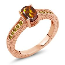 1.05 Ct Oval Orange Red Madeira Citrine and Simulated Citrine 18K Rose Gold Ring