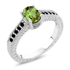 1.13 Ct Oval Green Peridot Black Diamond 925 Sterling Silver Engagement Ring