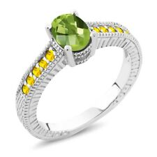 1.50 Ct Oval Checkerboard Green Peridot Yellow Sapphire 18K White Gold Ring