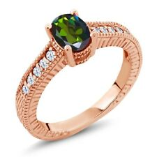 1.35 Ct Forest Green Mystic Topaz White Created Sapphire 14K Rose Gold Ring