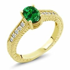 1.46 Ct Green Simulated Emerald White Sapphire 14K Yellow Gold Engagement Ring