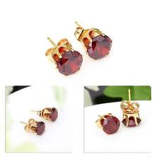 Nice Clear Crystal Gold Plated Women Stud Party Earrings Gift Crown Pierced 1U8J