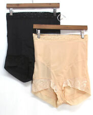 Slim 'N Lift Aire 2 Pack High Waist Lace Trim Shaper Briefs Black Beige NEW NWOT