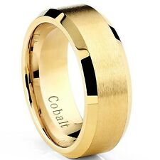 Men's Gold Tone Plated Cobalt Chrome Wedding Band Ring, 8mm comfort fit
