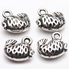 Hot 10/20Pcs Tibetan Silver Hollow Little Jumping Fishes Charm Pendants 11*10mm