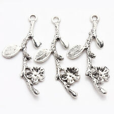 5/10Pcs Tibetan Silver Long Branches Leaves Flowers Shape Charm Pendants 41*18mm