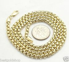 BOLD 3.50mm ROUND BOX CHAIN Necklace Real 14K Yellow Gold Lobster Claw Clasp