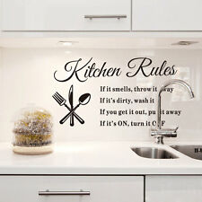 Kitchen rules quote wall stickers home decor diy vinyl art mural decal removable