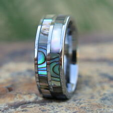 Hawaiian Tungsten Two Abalone Shell Inlay Lines Wedding Ring Band 8mm TUR1009