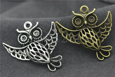 3/10/50pcs Tibetan Silver Exquisite Owl Jewelry Finding Charms Pendant 36x35mm