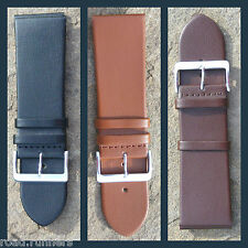 Genuine Leather Plain MENS Watch Strap Band Chunky Stainless Steel Buckle NEW