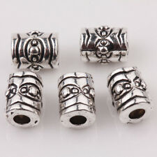 Wholesale 15/30Pcs Tibetan Silver Little Cylinders Loose Spacer Beads 7*5mm