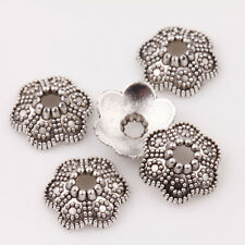 Wholesale 15/30Pcs Tibetan Silver Six Sides Flowers Delicate Bead Caps 11*4mm