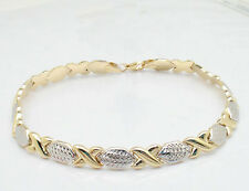 Diamond Cut Hugs & Kisses Stampato Bracelet Real 14K Yellow White Gold FREE SHIP