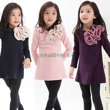 Fashion Kids Toddlers Chic Girls Big Flowers Print 100% Cotton Casual Hot Dress