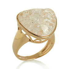 Technibond Crackled Quartz Trilliant-Cut Cabochon Ring 14K Gold Clad Silver