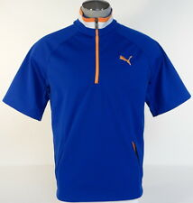 Puma Golf Short Sleeve 1/2 Zip Wind Jacket Blue & Orange Half Zip Mens NWT