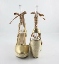 Champaign Light Gold Ankle Wrap or Tie Up Calf Hottest Espadrilles Wedge Sandals