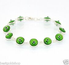 Transparent Clear Green Evil Eye Greek Mati Bracelet Real 925 Sterling Silver