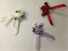 TRIPLE ROSE BOW EMBELLISHMENT 3 COLOURS KNITTING SEWING CRAFT BABY