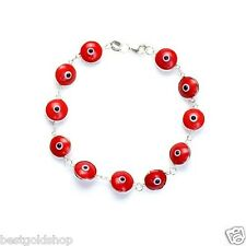 RED Greek Mati Hamsa Evil Eye Bead Charm Bracelet Genuine 925 Sterling Silver