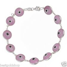 Solid Purple Greek Mati Evil Eye Bead Charm Bracelet Genuine 925 Sterling Silver