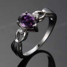 Pear Cut Purple Amethyst 1ct Wedding Rings 10KT White Gold Filled Womens Jewelry