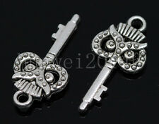10/50/300pcs Tibetan Silver two-sided owl key Alloy Charm Pendant DIY 21x10mm