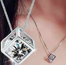 Fashion Womens Silver Plated Chain Crystal Rhinestone Necklace Pendant Jewelry