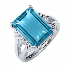 9.73 Ct Octagon Swiss Blue Topaz 925 Sterling Silver Ring