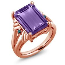 7.13 Ct Octagon Purple Amethyst Blue Diamond 18K Rose Gold Plated Silver Ring