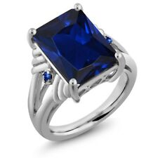 10.04 Ct Octagon Blue Simulated Sapphire Blue Sapphire 925 Sterling Silver Ring